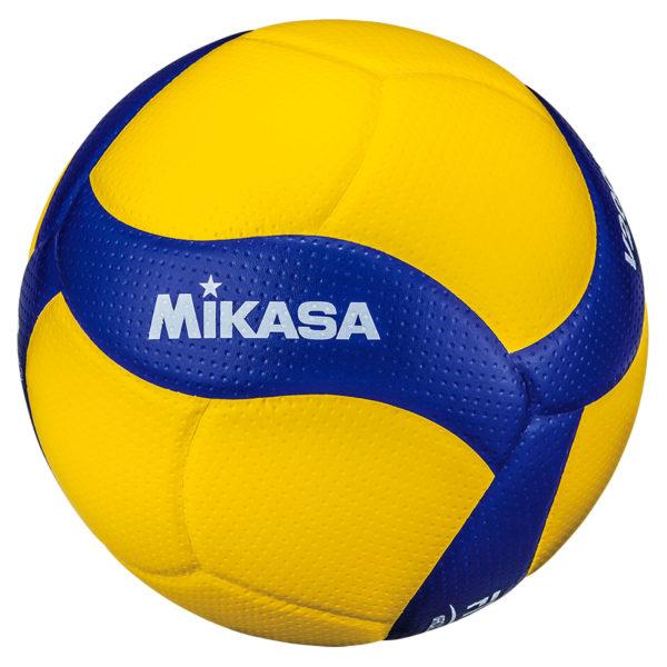 Das Foto zeigt den neuen blau gelben Mikasa V200W Volleyball.