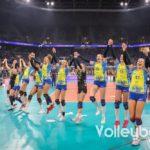 Das Team vom SCC Palmberg Schwerin jubelt nach dem Sieg über MTV Stuttgart im DVV-Pokalfinale 2019