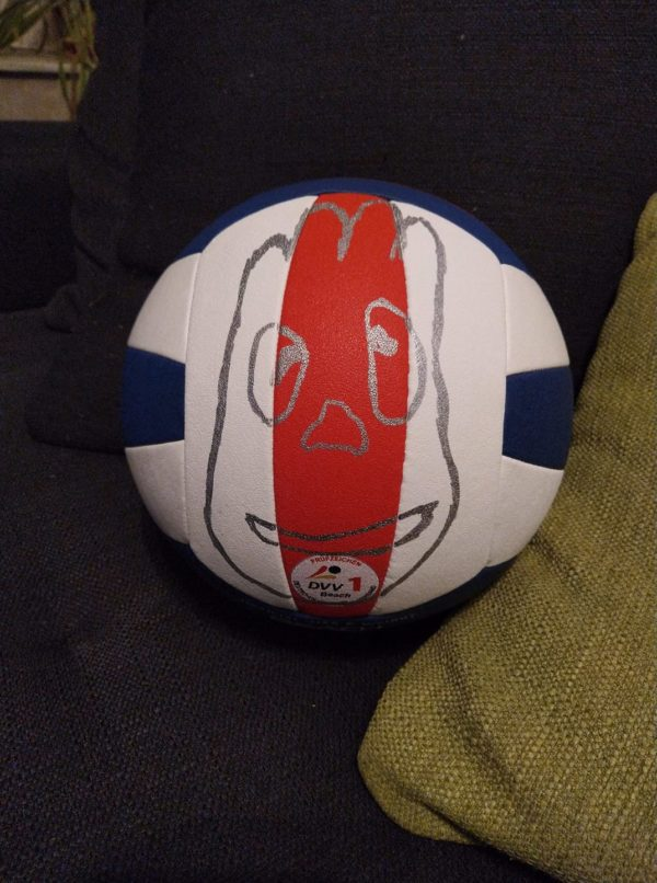 Ein Molten Beachvolleyball v5b5000 mit einem Mr. Wilson Motiv