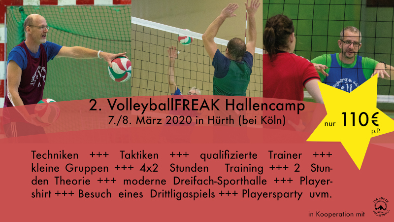VolleyballFREAK Hallencamp 2.0 am 7.3-8.3.2020 in Hürth bei Köln